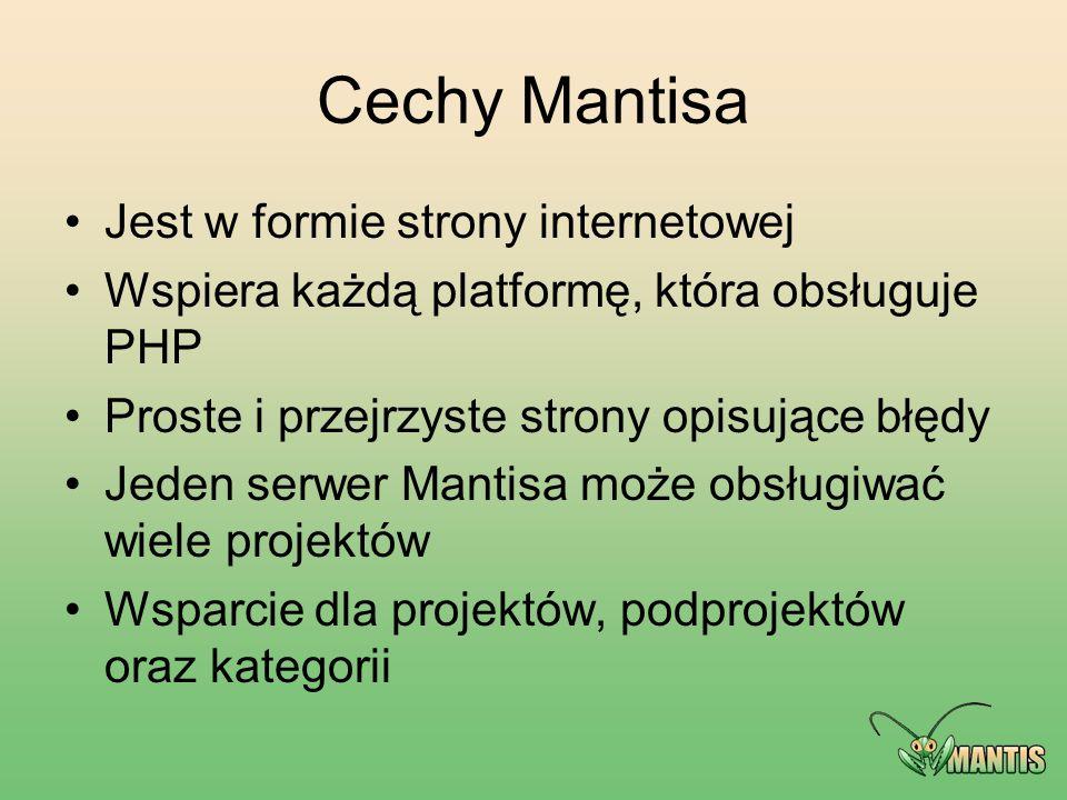 Cechy Mantisa Jest w formie strony internetowej