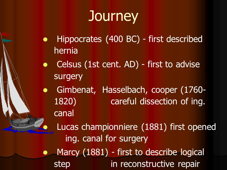 Journey Hippocrates (400 BC) - first described hernia