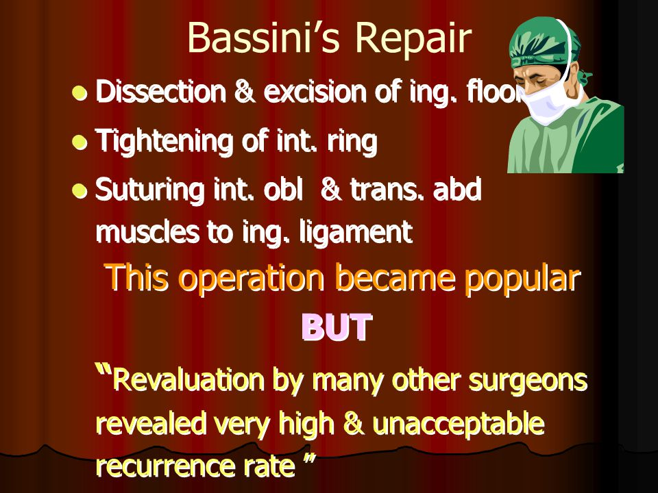 Bassini's Repair Dissection & excision of ing. floor