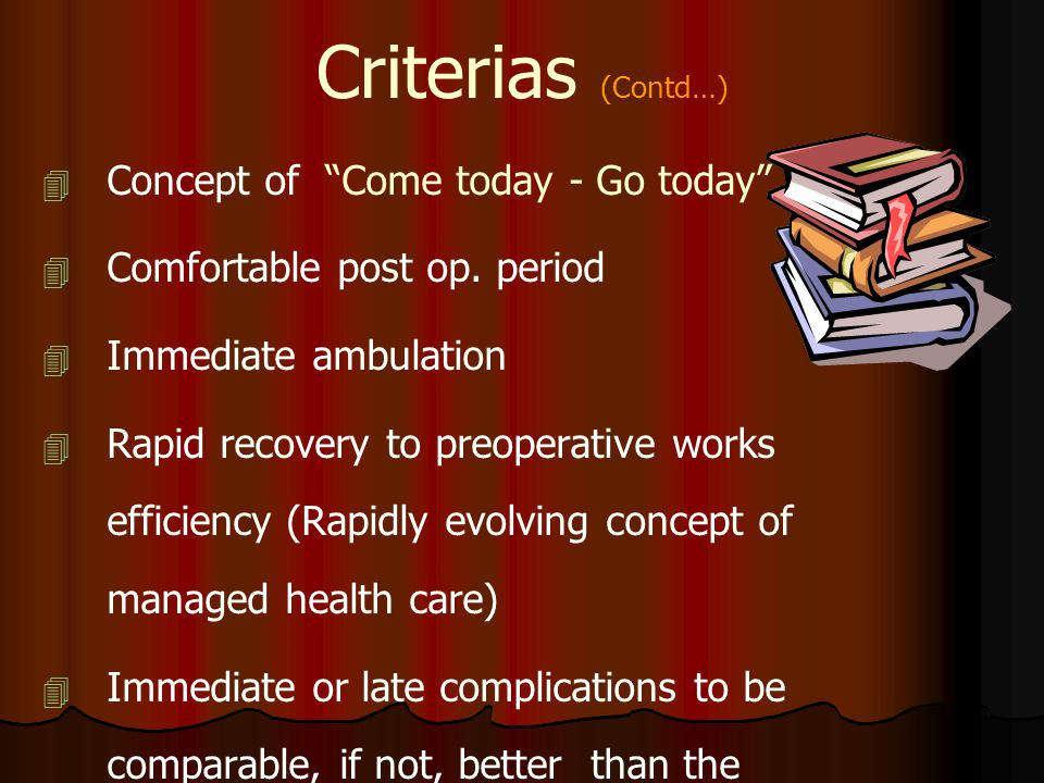 Criterias (Contd…) Concept of Come today - Go today