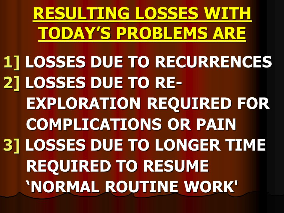 RESULTING LOSSES WITH TODAY'S PROBLEMS ARE