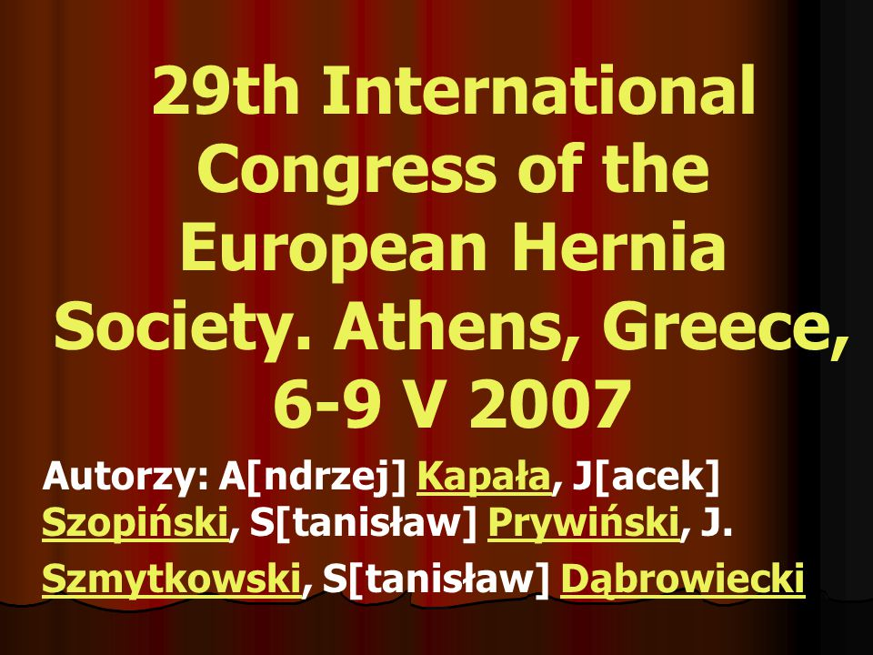 29th International Congress of the European Hernia Society