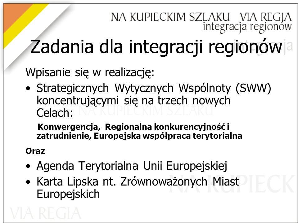 Zadania dla integracji regionów
