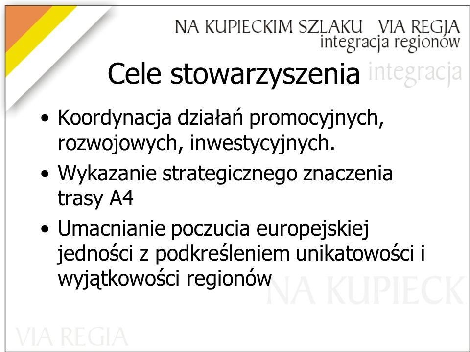 Cele stowarzyszenia Koordynacja działań promocyjnych, rozwojowych, inwestycyjnych. Wykazanie strategicznego znaczenia trasy A4.