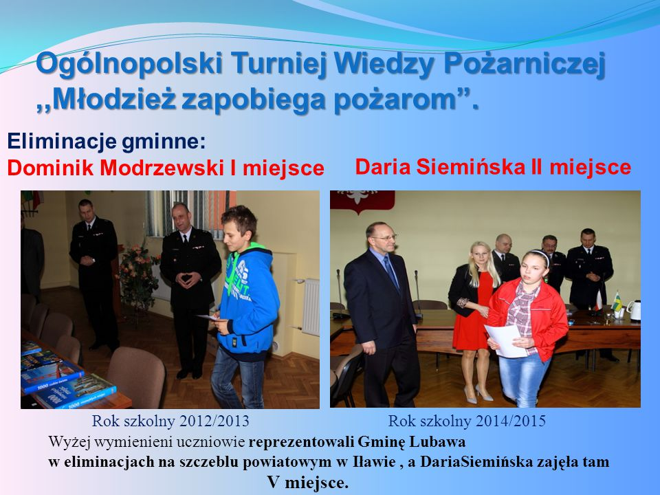 Ogólnopolski Turniej Wiedzy Pożarniczej ,,Młodzież zapobiega pożarom .