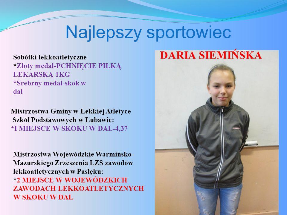 Najlepszy sportowiec DARIA SIEMIŃSKA Sobótki lekkoatletyczne