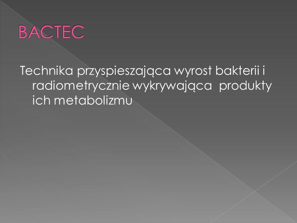 BACTEC Technika przyspieszająca wyrost bakterii i radiometrycznie wykrywająca produkty ich metabolizmu.