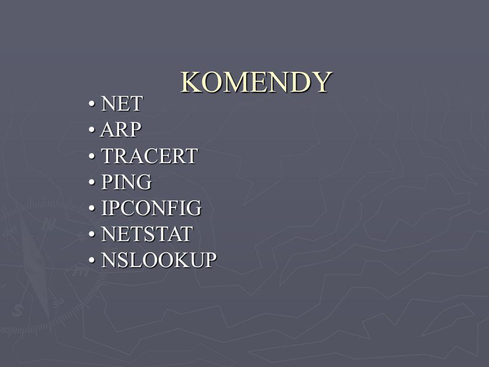 KOMENDY NET ARP TRACERT PING IPCONFIG NETSTAT NSLOOKUP