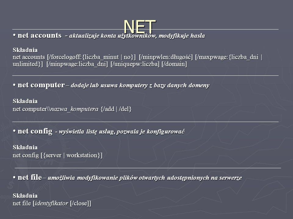 NET net accounts - aktualizuje konta użytkowników, modyfikuje hasła