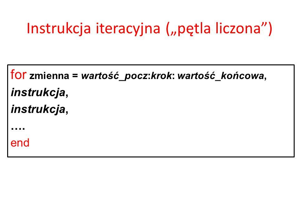 """Instrukcja iteracyjna (""""pętla liczona )"""