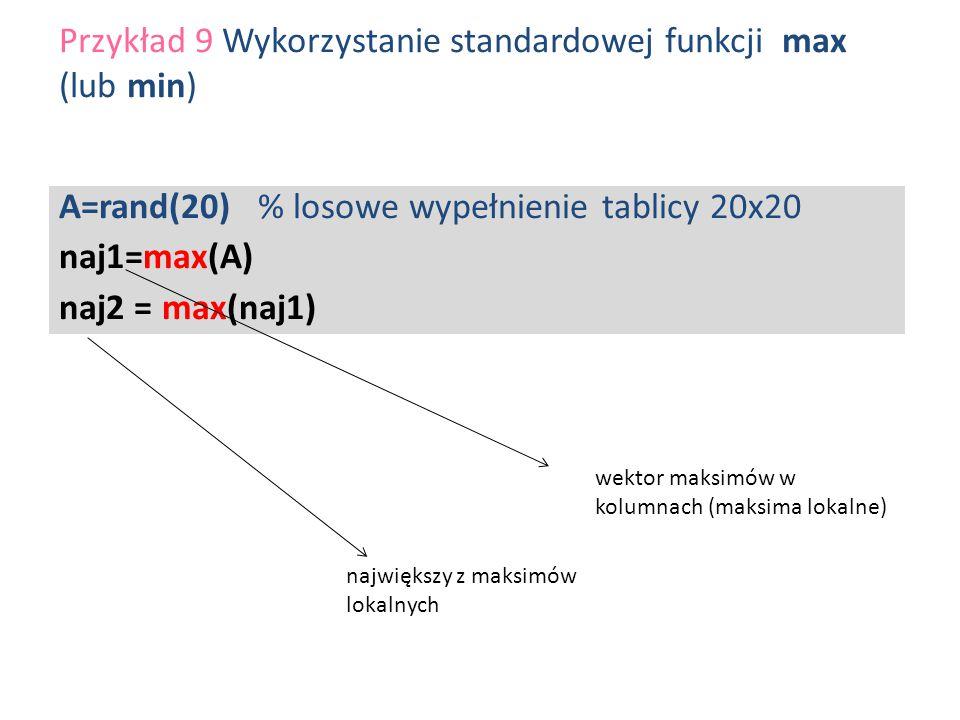 Przykład 9 Wykorzystanie standardowej funkcji max (lub min)