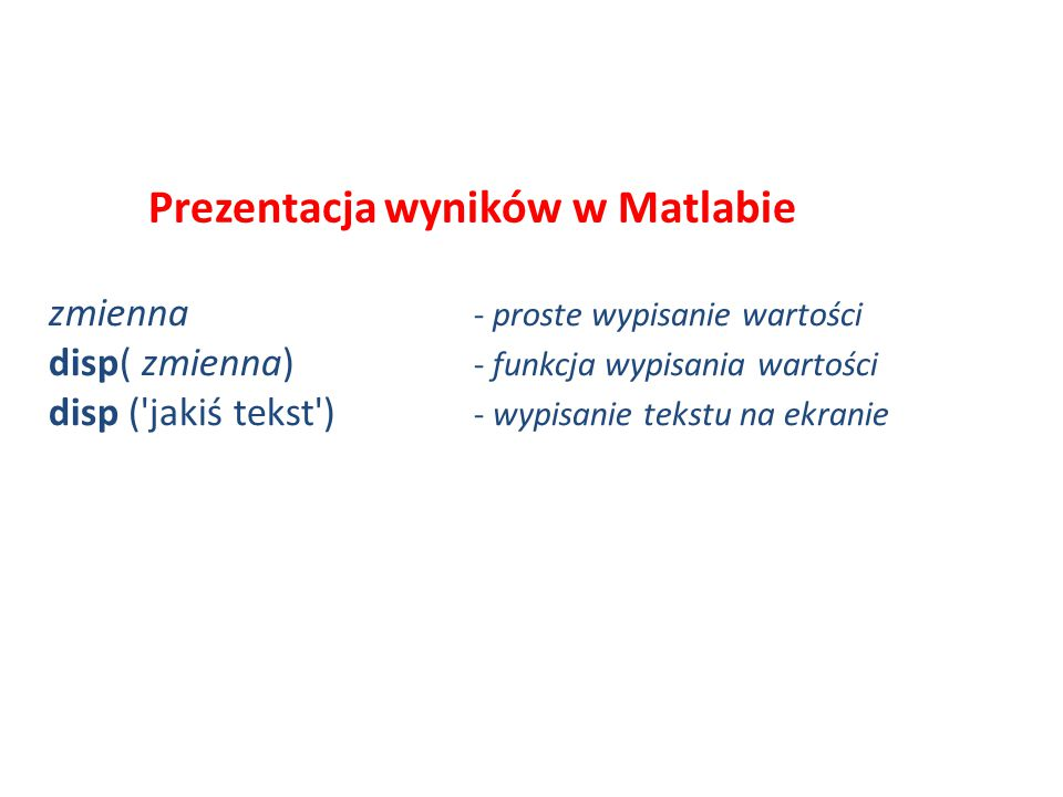 Prezentacja wyników w Matlabie