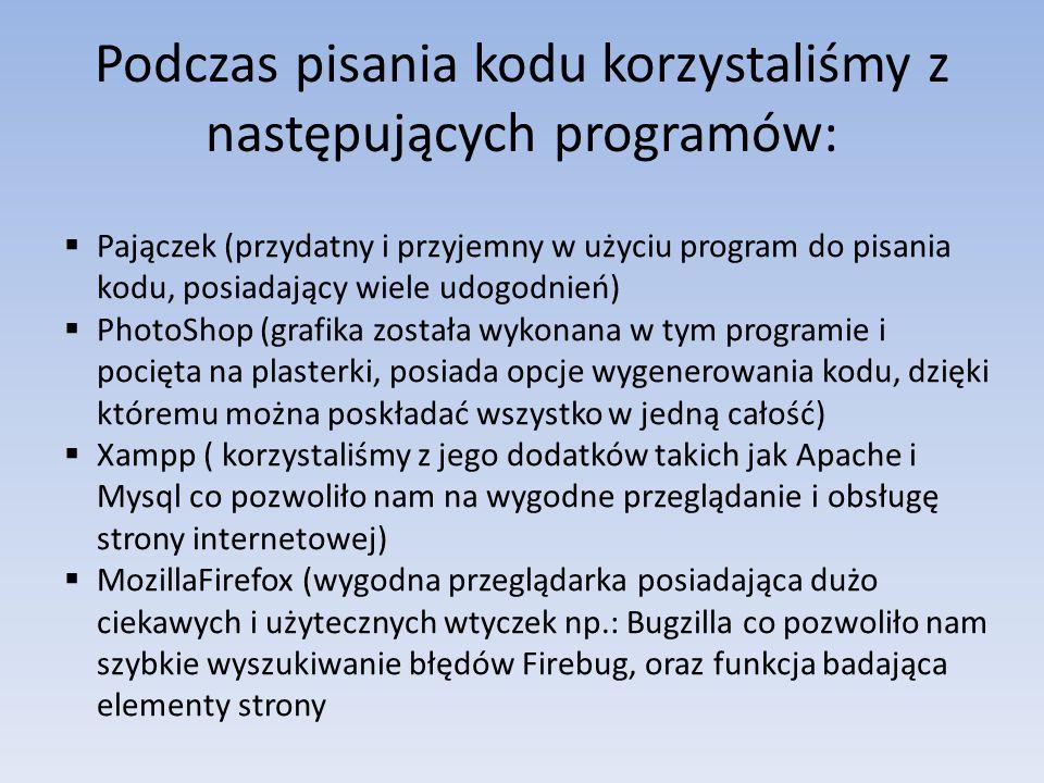 Podczas pisania kodu korzystaliśmy z następujących programów: