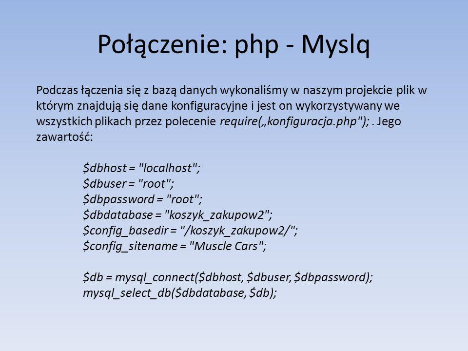 Połączenie: php - Myslq