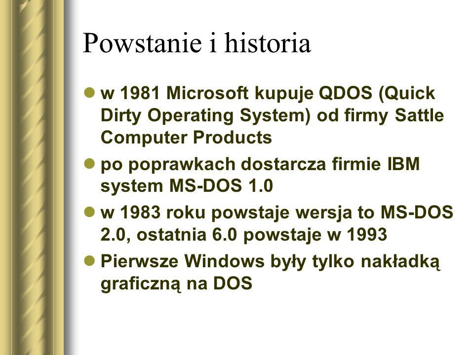 Powstanie i historia w 1981 Microsoft kupuje QDOS (Quick Dirty Operating System) od firmy Sattle Computer Products.
