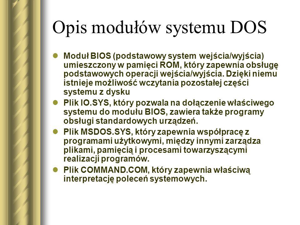 Opis modułów systemu DOS