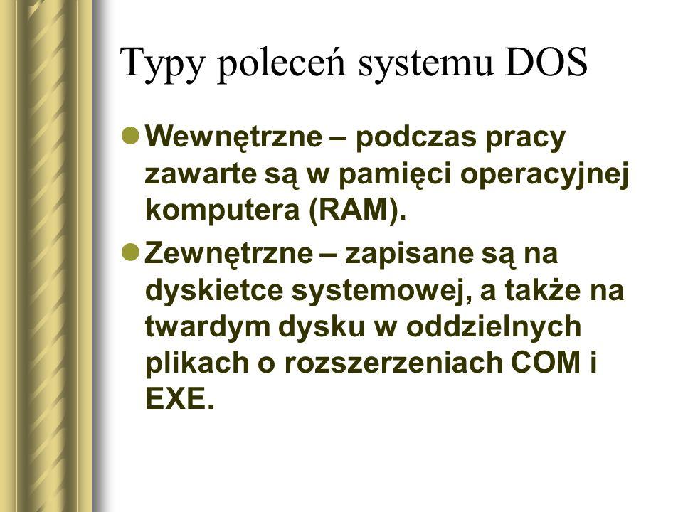 Typy poleceń systemu DOS
