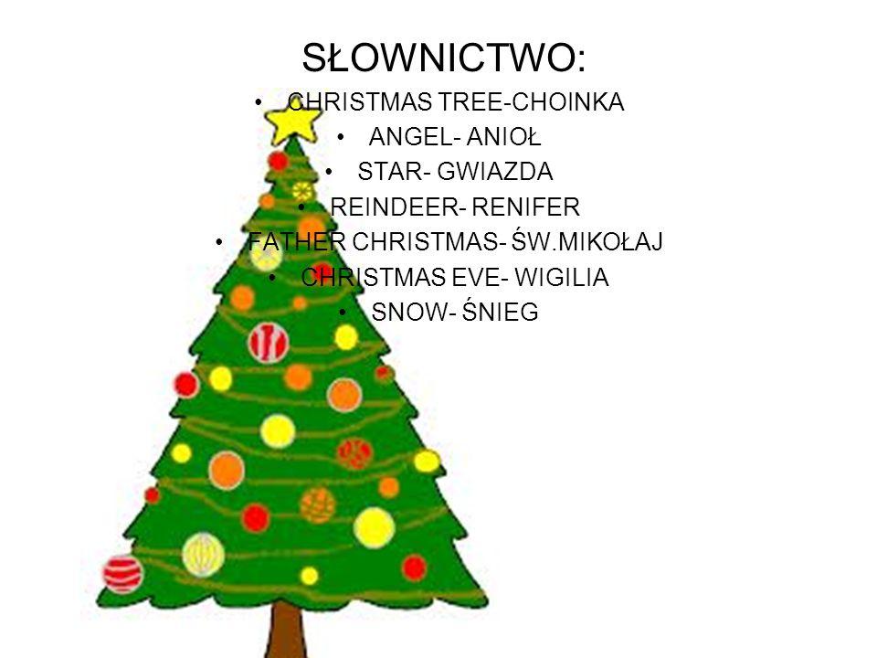 SŁOWNICTWO: CHRISTMAS TREE-CHOINKA ANGEL- ANIOŁ STAR- GWIAZDA