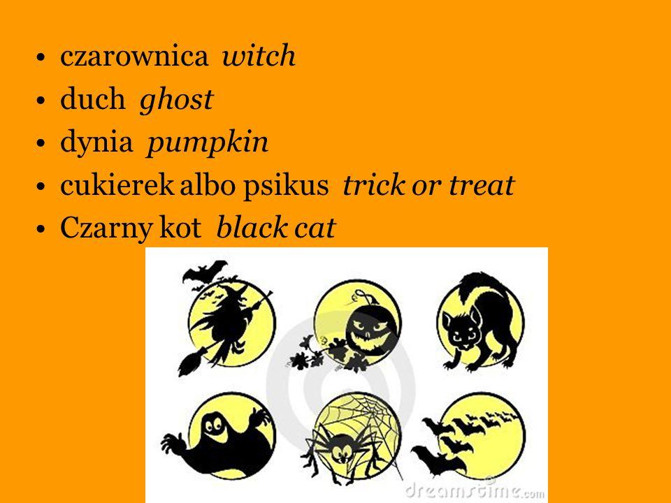 czarownica witch duch ghost. dynia pumpkin. cukierek albo psikus trick or treat.