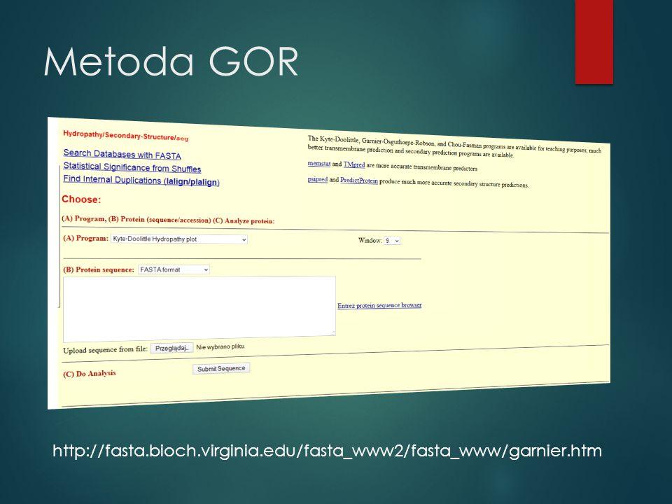 Metoda GOR http://fasta.bioch.virginia.edu/fasta_www2/fasta_www/garnier.htm