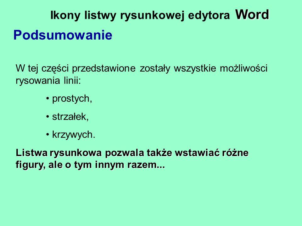 Ikony listwy rysunkowej edytora Word