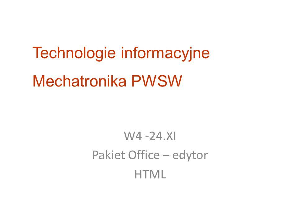 W4 -24.XI Pakiet Office – edytor HTML