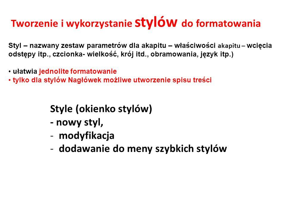 Tworzenie i wykorzystanie stylów do formatowania