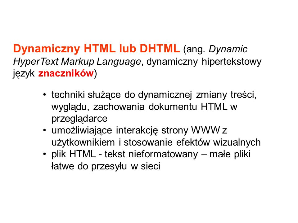Dynamiczny HTML lub DHTML (ang