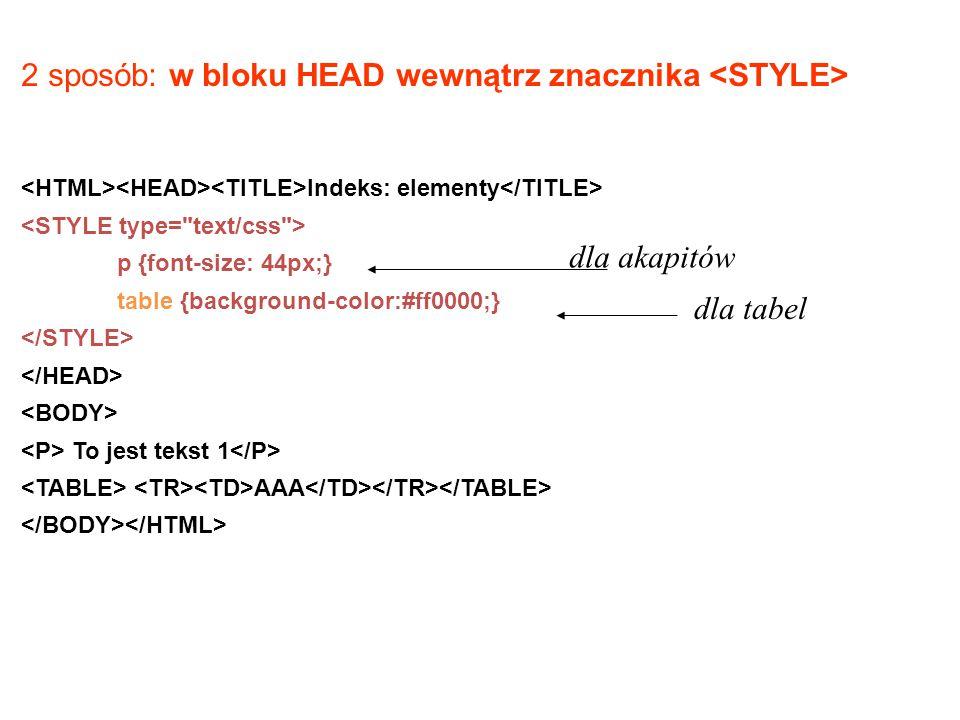 2 sposób: w bloku HEAD wewnątrz znacznika <STYLE>