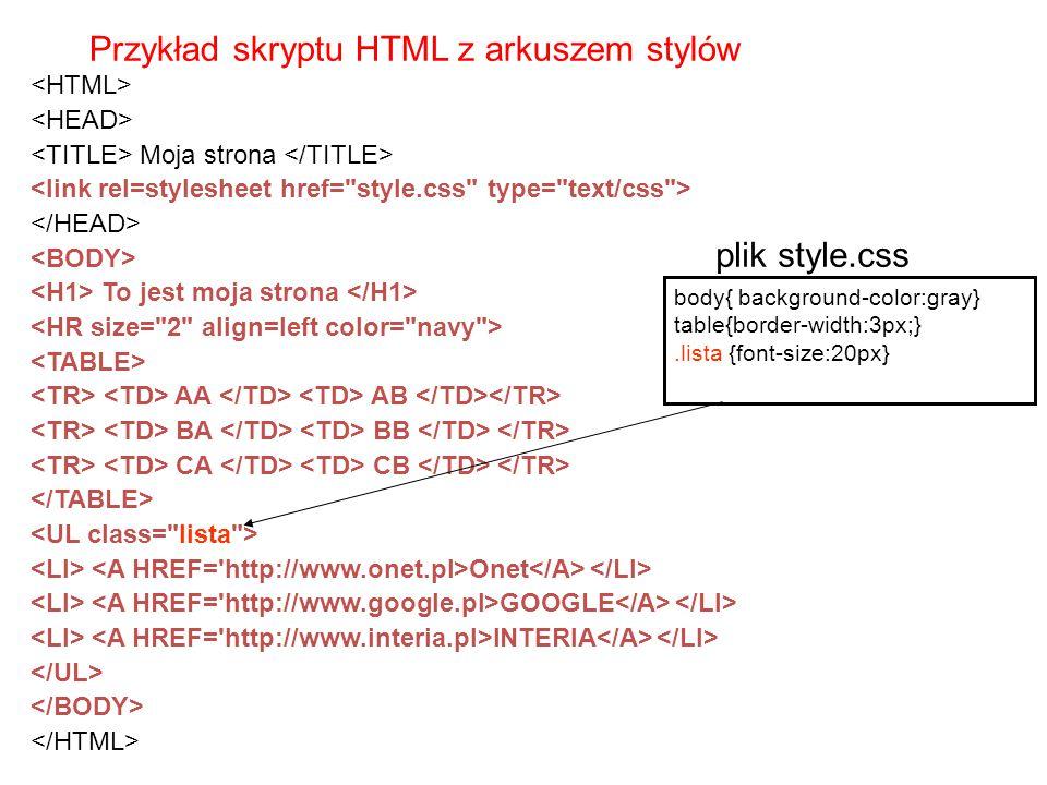 Przykład skryptu HTML z arkuszem stylów