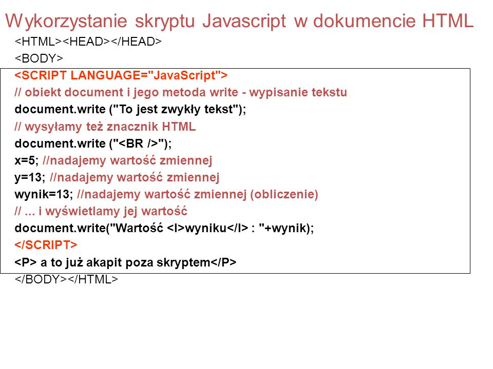 Wykorzystanie skryptu Javascript w dokumencie HTML