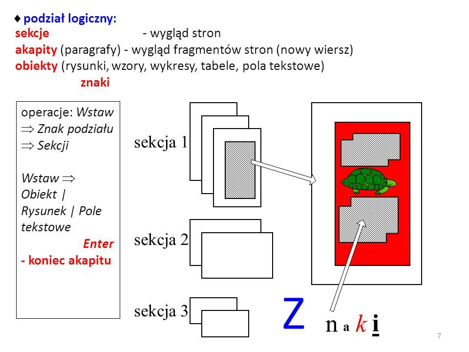 Z n k i sekcja 1 sekcja 2 sekcja 3 podział logiczny: