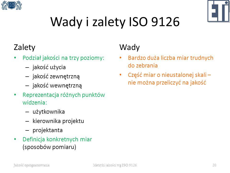 Wady i zalety ISO 9126 Zalety Wady Podział jakości na trzy poziomy:
