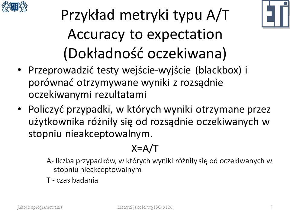 Przykład metryki typu A/T Accuracy to expectation (Dokładność oczekiwana)