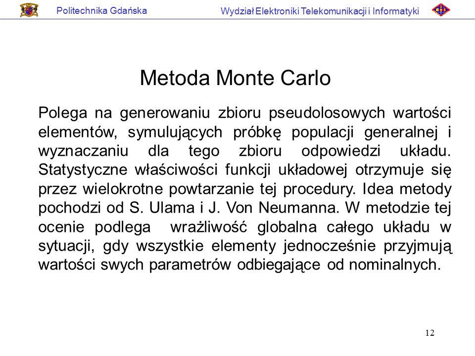 Politechnika Gdańska Wydział Elektroniki Telekomunikacji i Informatyki. Metoda Monte Carlo.