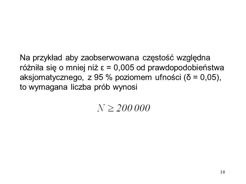 Na przykład aby zaobserwowana częstość względna różniła się o mniej niż ε = 0,005 od prawdopodobieństwa aksjomatycznego, z 95 % poziomem ufności (δ = 0,05), to wymagana liczba prób wynosi