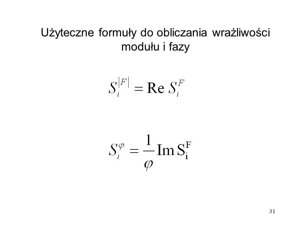 Użyteczne formuły do obliczania wrażliwości modułu i fazy