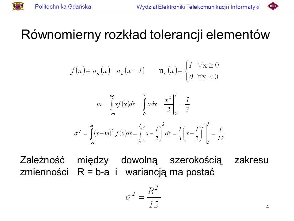Równomierny rozkład tolerancji elementów