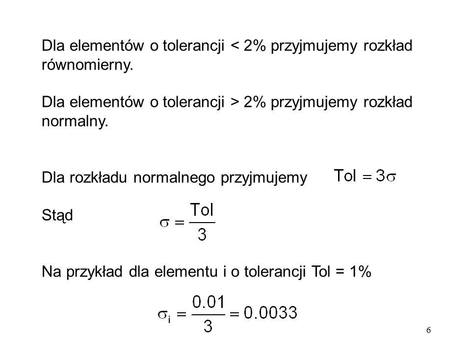 Dla elementów o tolerancji < 2% przyjmujemy rozkład równomierny.