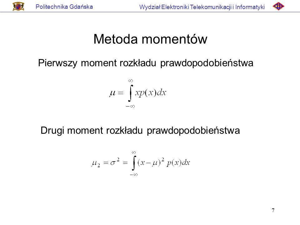 Metoda momentów Pierwszy moment rozkładu prawdopodobieństwa