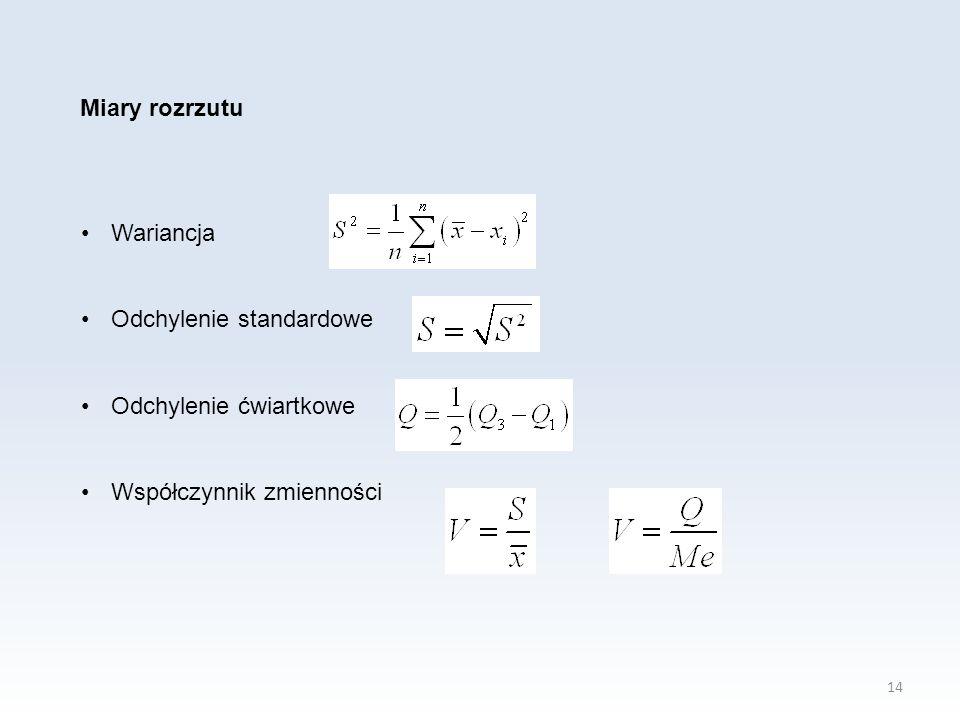Miary rozrzutu Wariancja Odchylenie standardowe Odchylenie ćwiartkowe Współczynnik zmienności