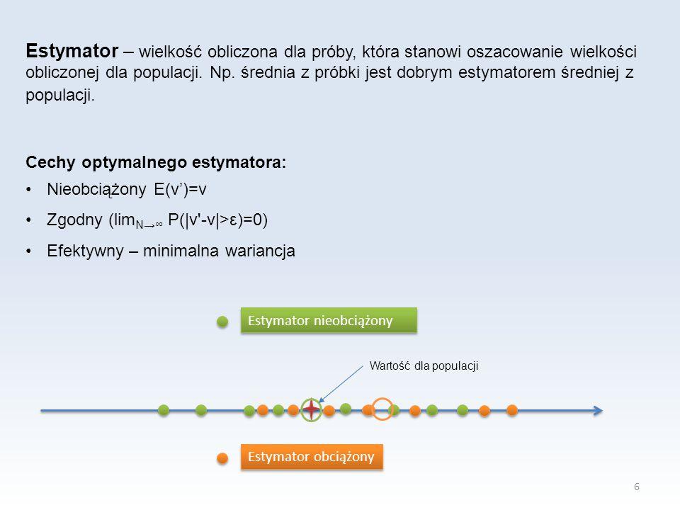 Estymator – wielkość obliczona dla próby, która stanowi oszacowanie wielkości obliczonej dla populacji. Np. średnia z próbki jest dobrym estymatorem średniej z populacji.