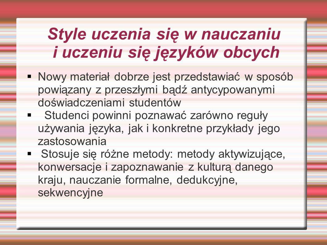 Style uczenia się w nauczaniu i uczeniu się języków obcych