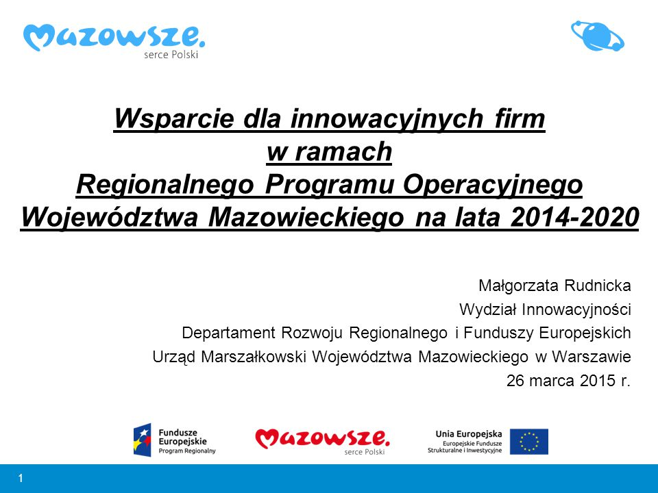 Wsparcie dla innowacyjnych firm w ramach Regionalnego Programu Operacyjnego Województwa Mazowieckiego na lata 2014-2020