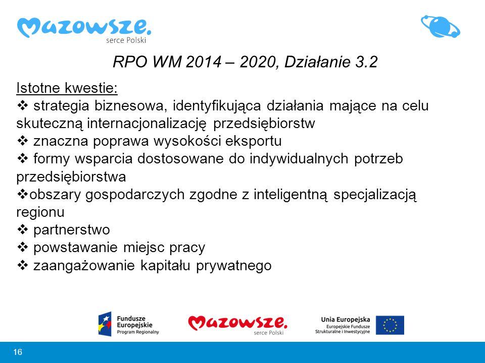 RPO WM 2014 – 2020, Działanie 3.2 Istotne kwestie: