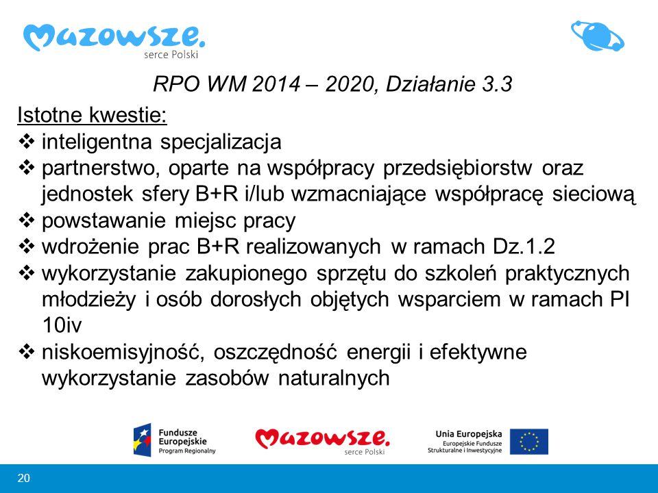 RPO WM 2014 – 2020, Działanie 3.3 Istotne kwestie: inteligentna specjalizacja.