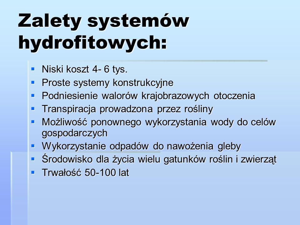 Zalety systemów hydrofitowych: