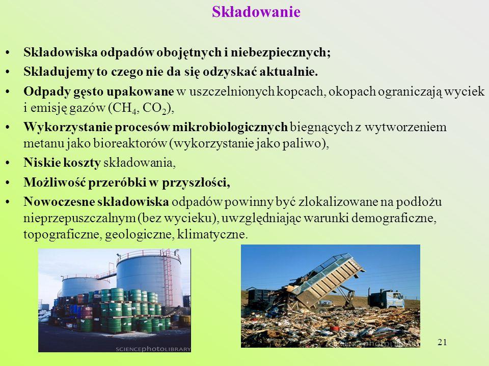 Składowanie Składowiska odpadów obojętnych i niebezpiecznych;