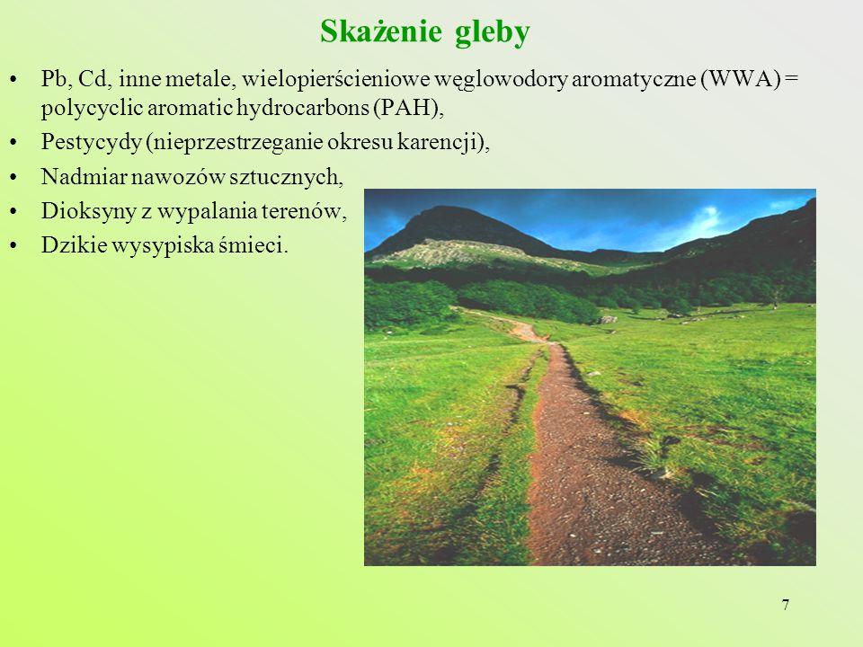 Skażenie gleby Pb, Cd, inne metale, wielopierścieniowe węglowodory aromatyczne (WWA) = polycyclic aromatic hydrocarbons (PAH),