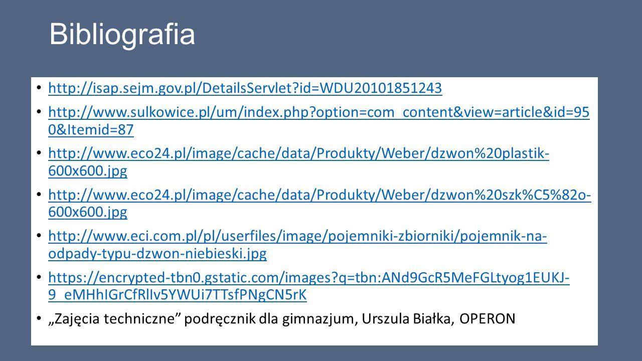 Bibliografia http://isap.sejm.gov.pl/DetailsServlet id=WDU20101851243
